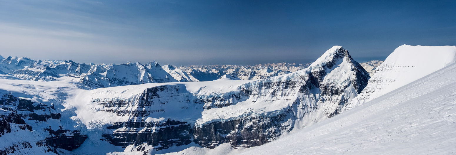 Panorama from the ascent of North Twin showing the long approach to Mount Columbia from the trench (around 6km)