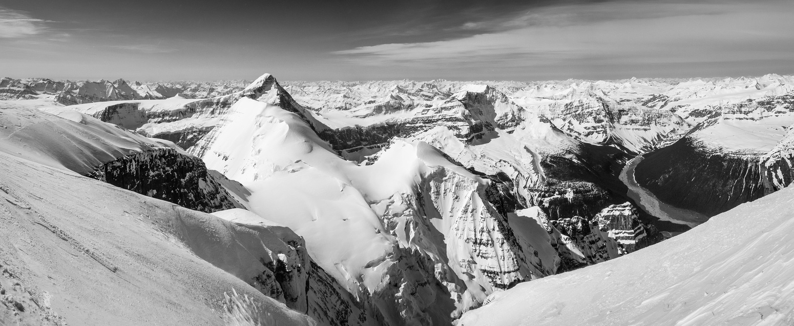 Great shot looking down 2 vertical kilometers into the Athabasca River Valley.