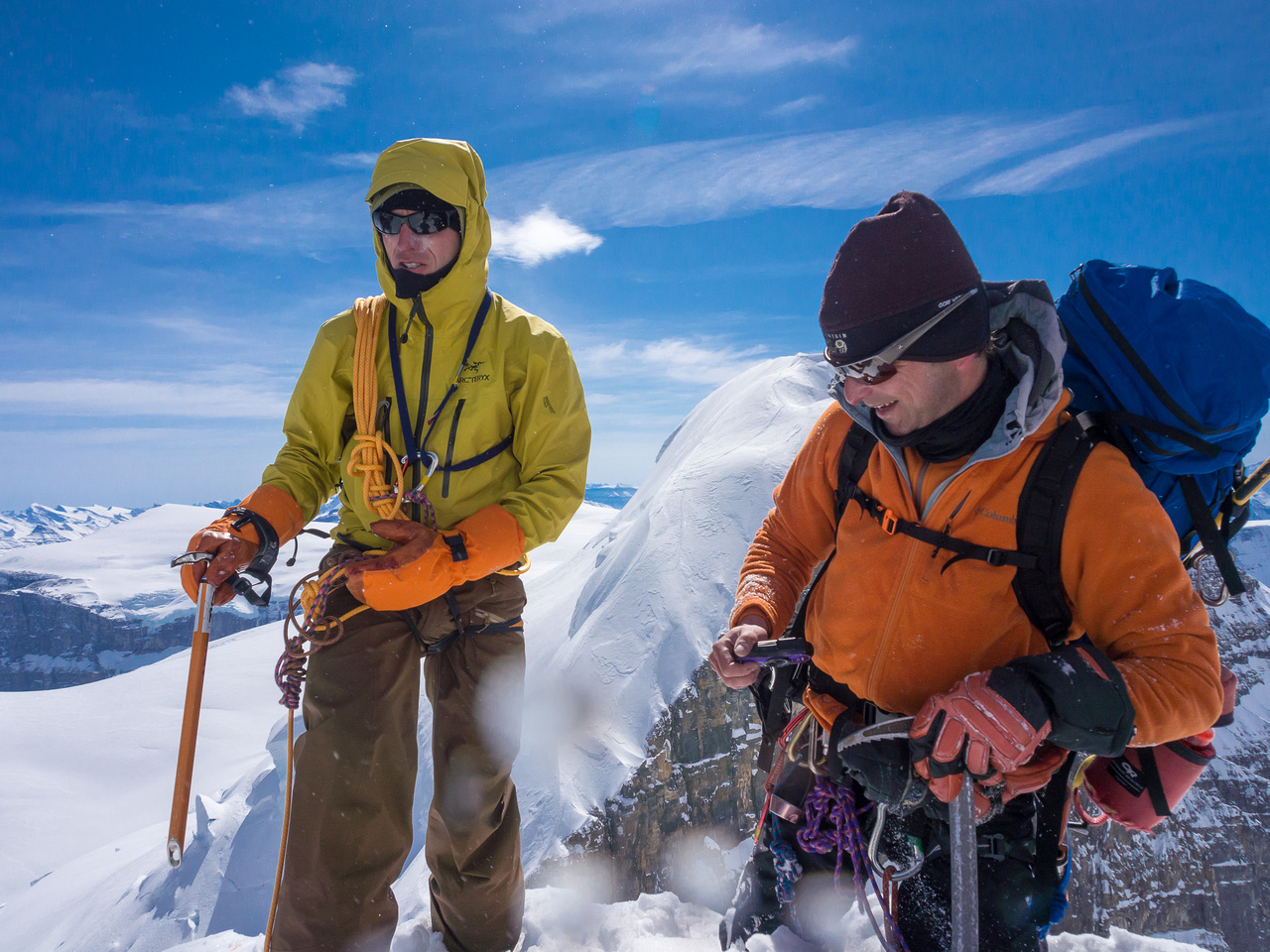 TJ and Raf congratulate each other on the summit of Twins Tower. This was Raf's last Columbia Icefields summit!