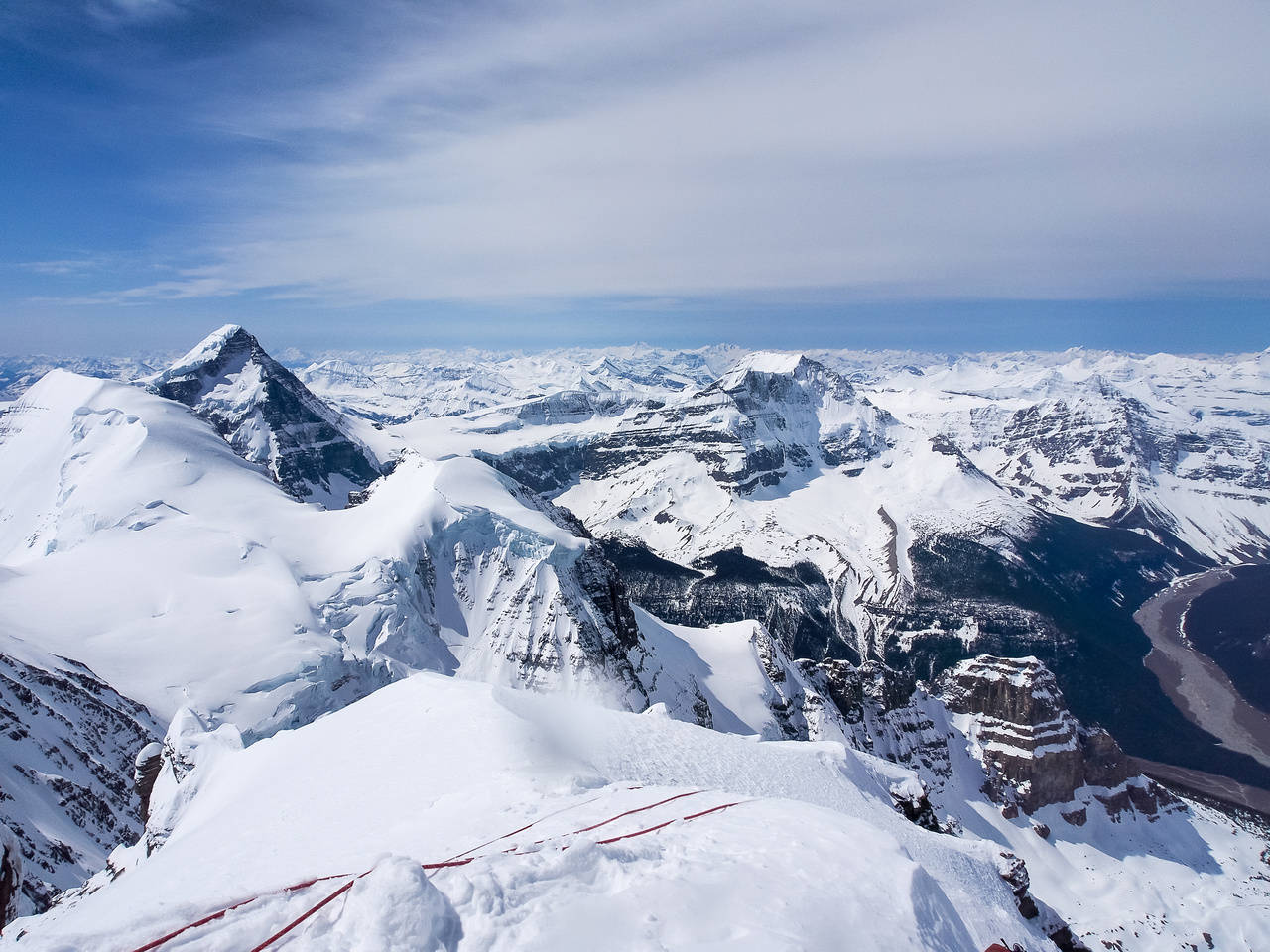 View of South Twin, Columbia, West Twin (TINY!) and Kind Edward (L to R) from the summit of Twins Tower.