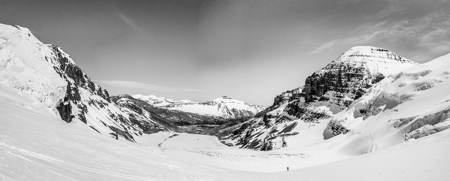 Skiing down the ramp off the ice fields, Andromeda at upper right and Snow Dome's seracs on the left.
