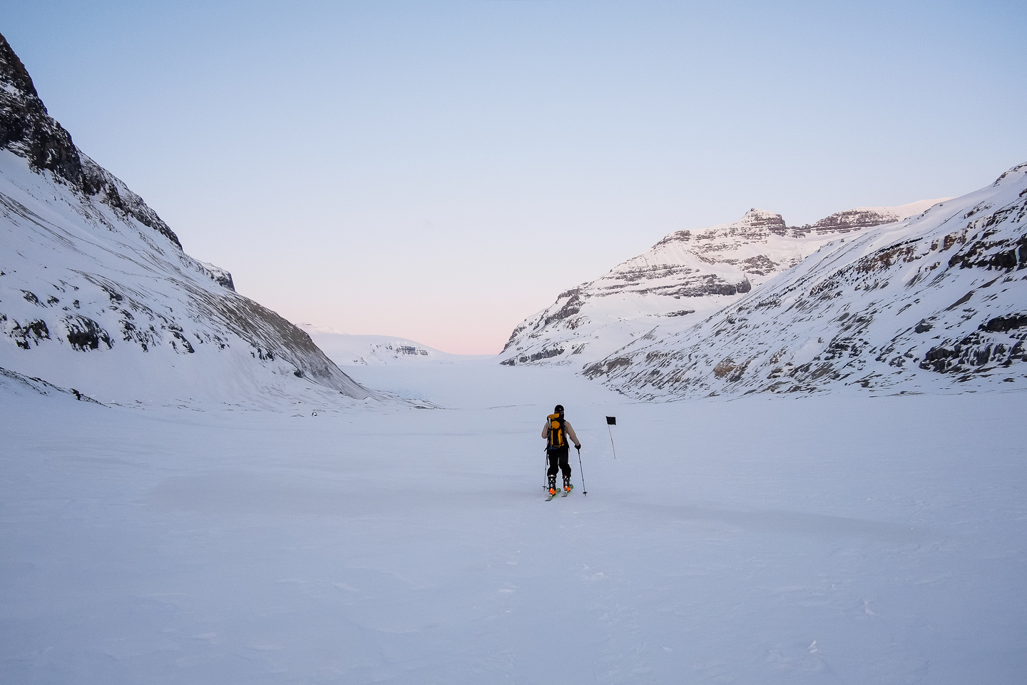 Skiing towards the toe of the Saskatchewan Glacier. Note the wand? We followed them all the way in.