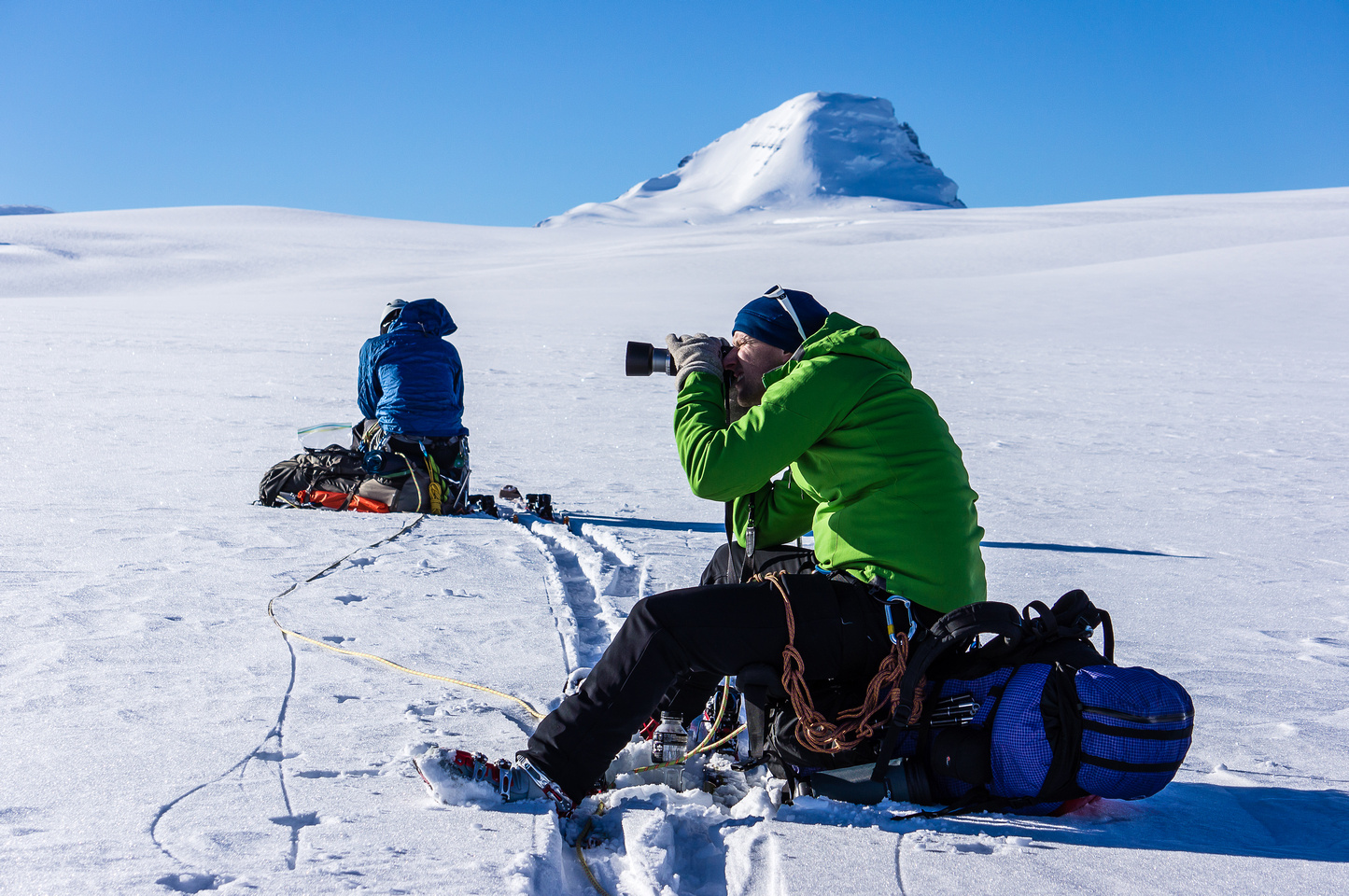 Taking a breather on the Columbia Icefields.