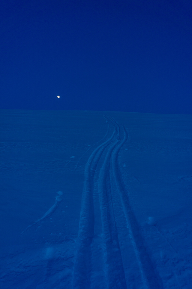 The moon rises as I come up the trench on the way back to camp.