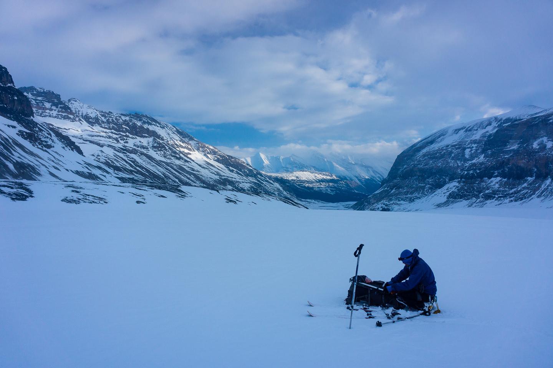 The clouds clear as we descend the Saskatchewan Glacier.