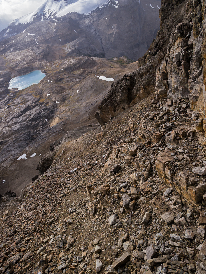 Looking down the scree ramp I used to access the summit ridge.
