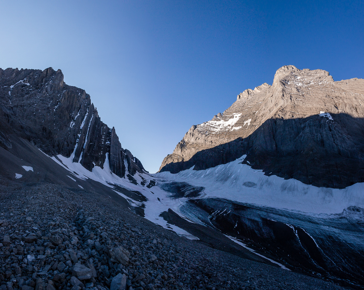 Looking down at the French Glacier from the moraine. Our col at distant mid center here.
