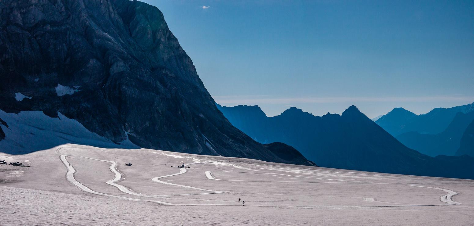The xcountry ski team practices.
