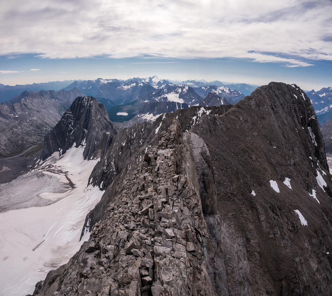 Returning over the crux.