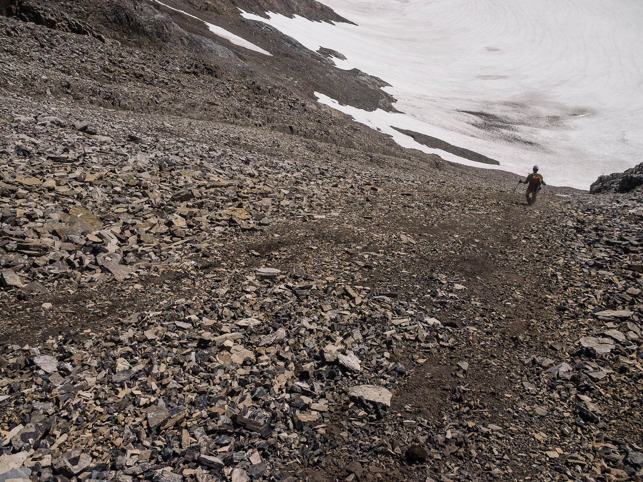 The scree ski down to the Haig Icefield is quick.