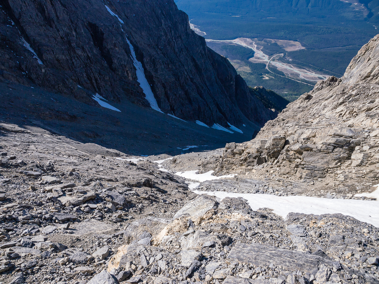 Slabs and scree.