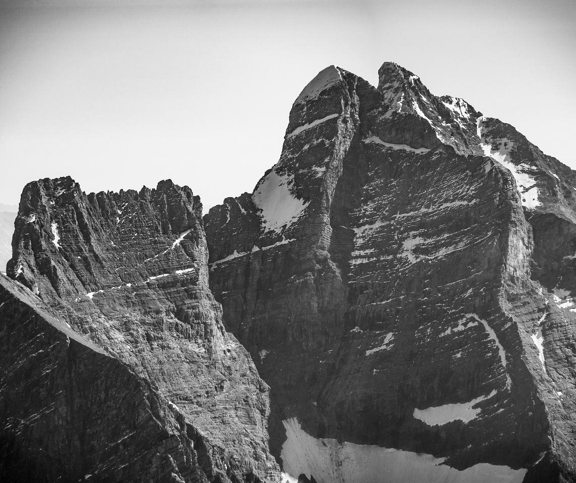 The impressive and terrifying NW face of the Goodsir Towers!