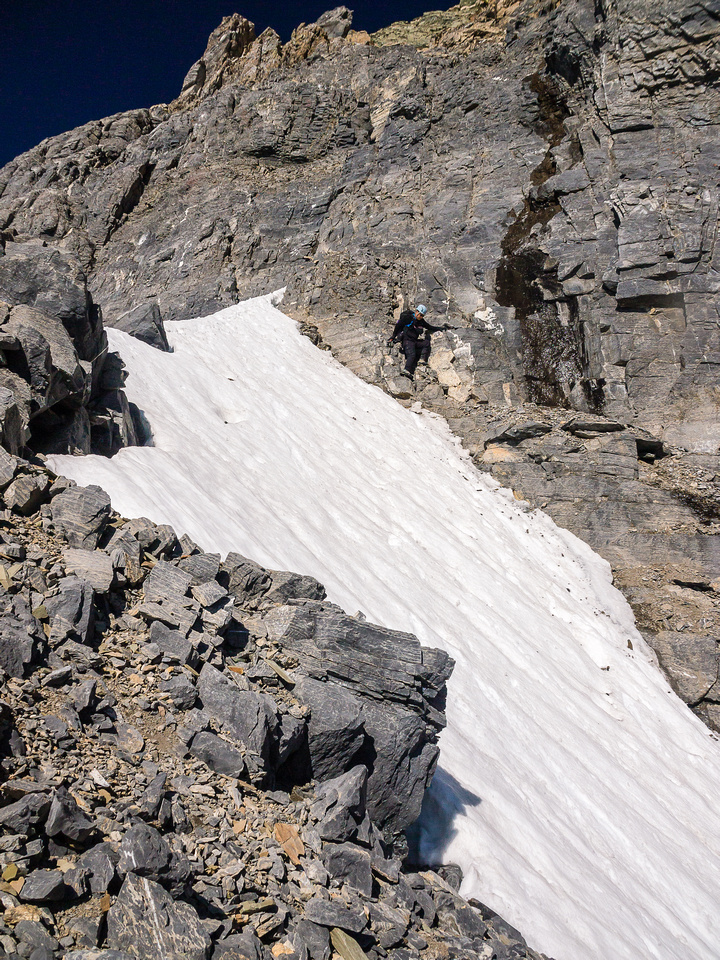 Looking from across the snow arete back towards the crux wall.