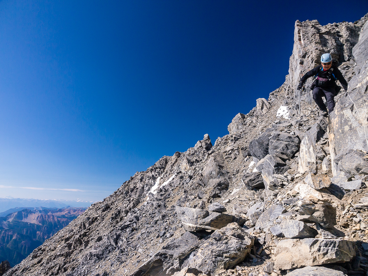 There's still a lot of loose and tricky terrain to down climb after the crux.