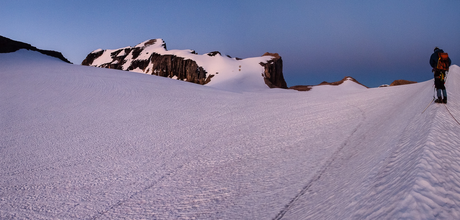 Finally on the main glacier with a view to the gorgeous summit of Cathedral Mountain.