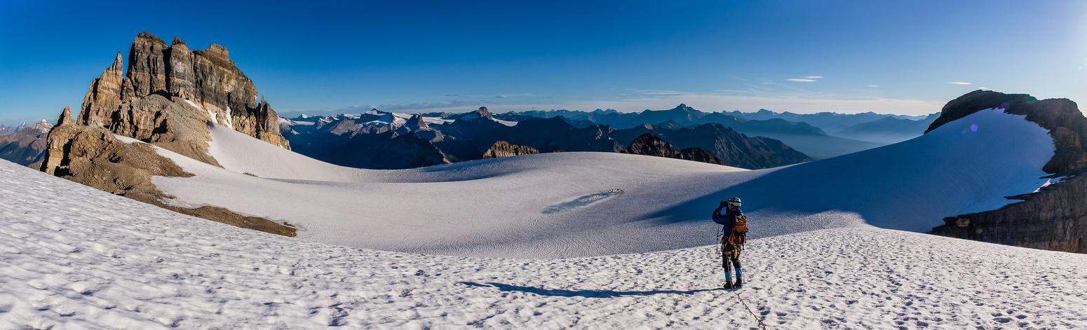 Descending the lower Cathedral Glacier.