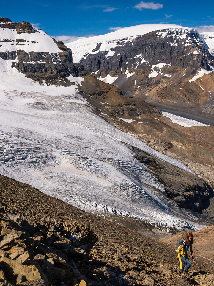 Coming up the loose scree trail to the summit ridge.
