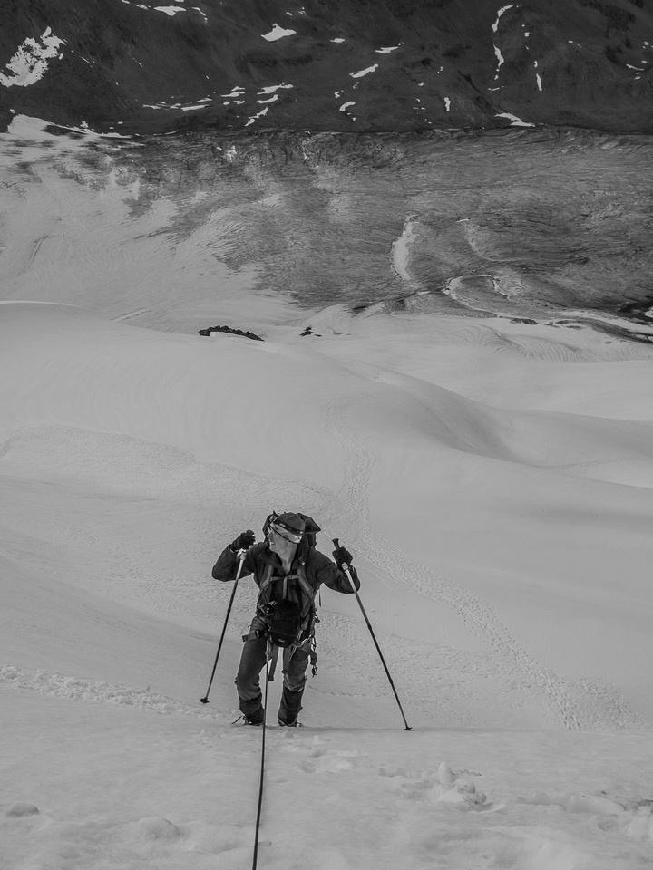Steeper upper slopes.