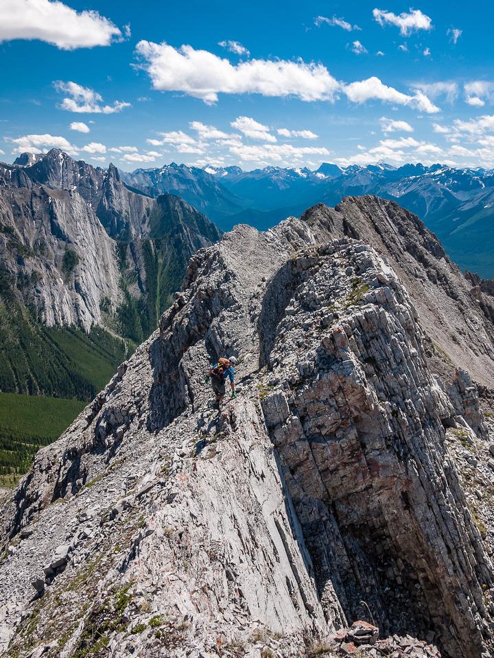 Downclimbing the south ridge of Ishbel.