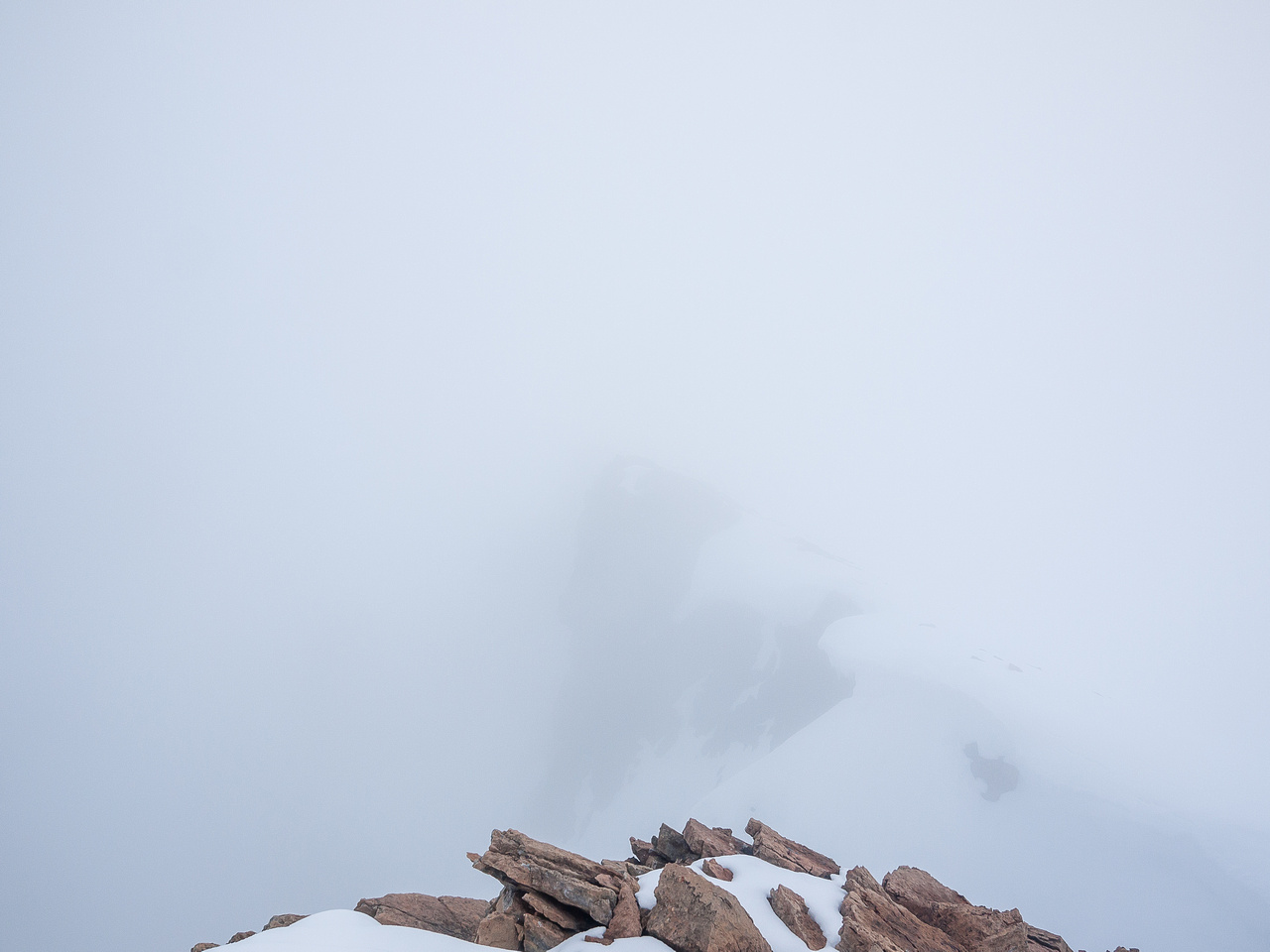 Views are not great at the summit at first.