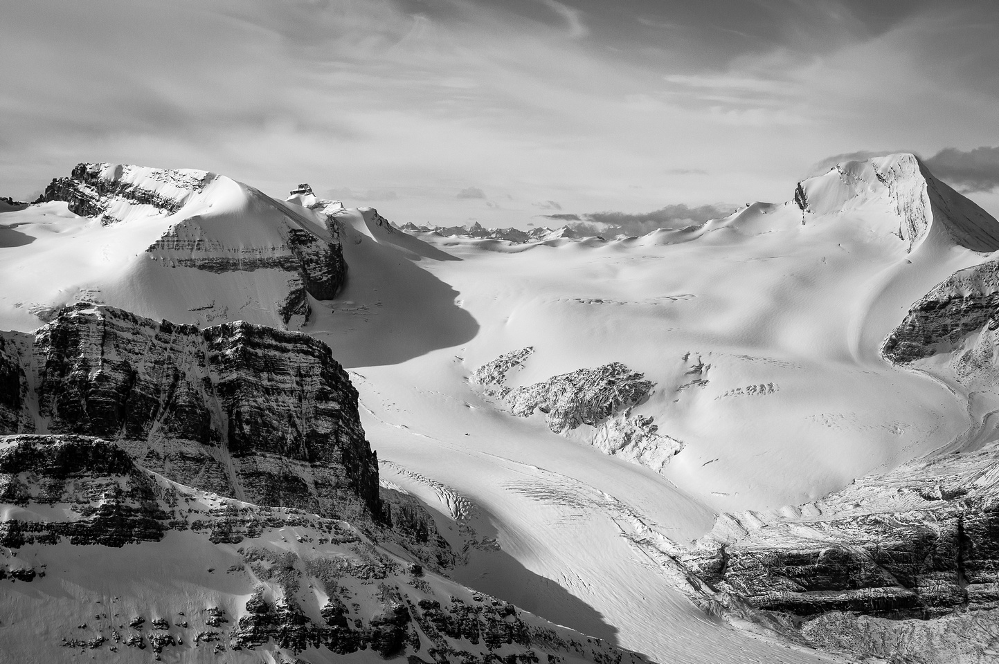 Looking over the Peyto Glacier. Baker at right, Habel at left.