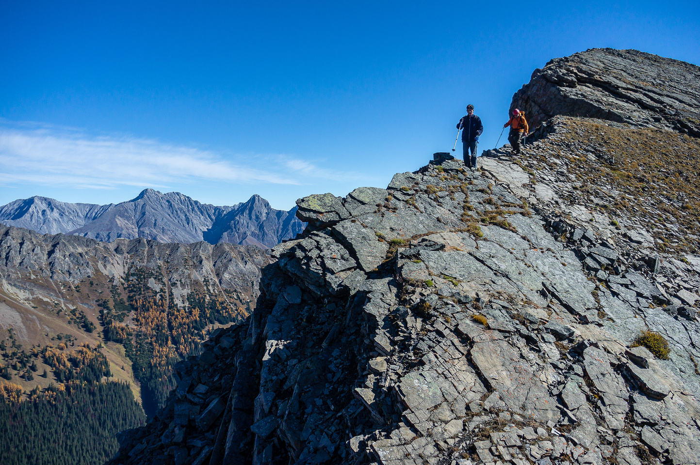 Descending the ridge.