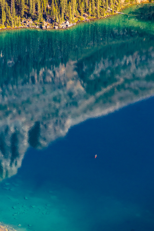 A kayaker on Lake O'Hara.