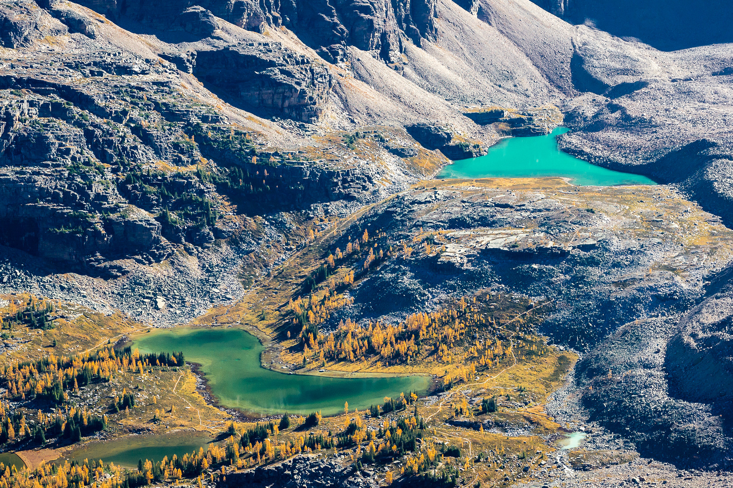 Nature's incredible color scheme in the waters of Hungabee Lake (L) and Opabin Lake (R).