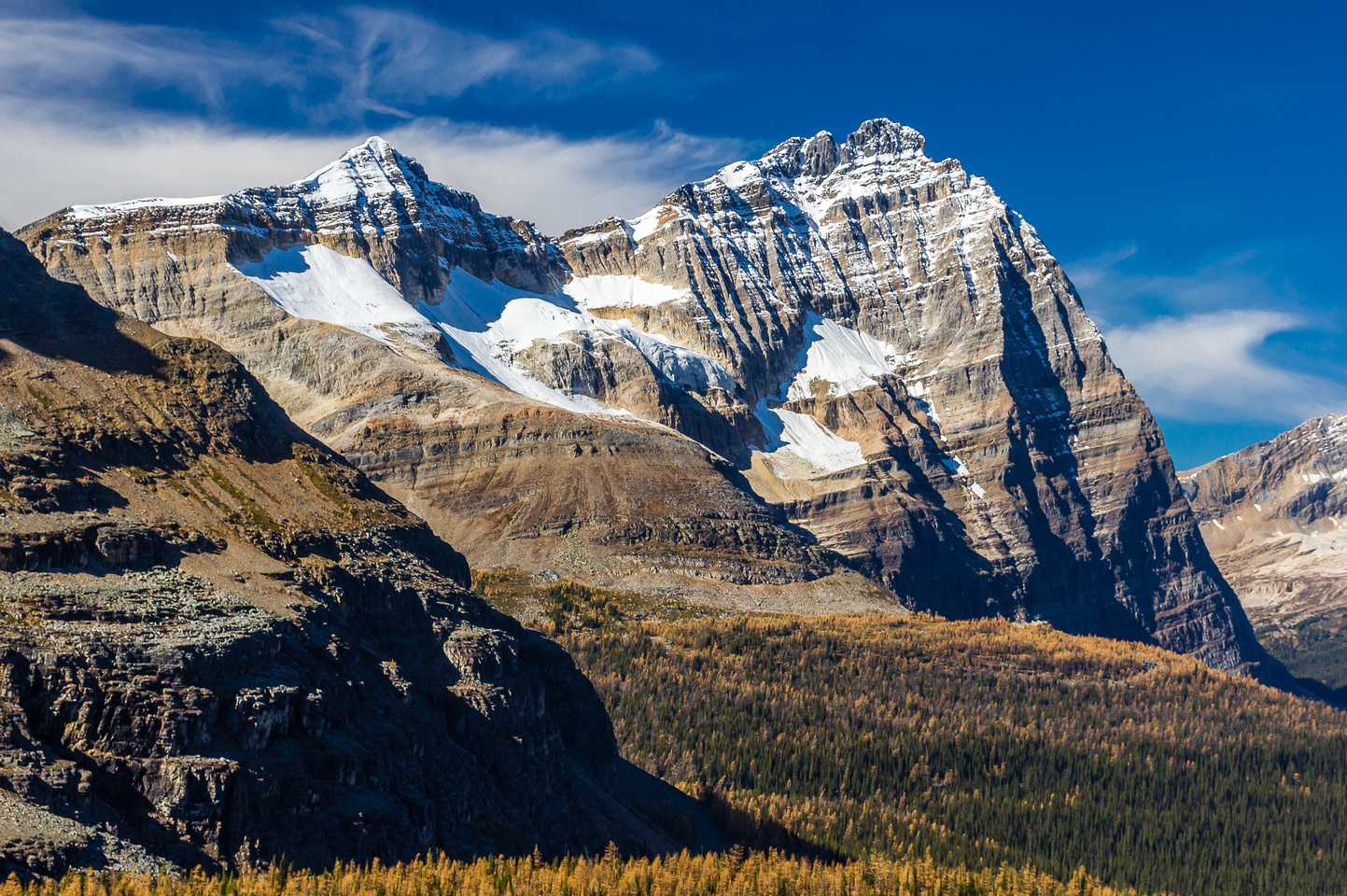 Gorgeous morning lighting on Little (L) and main Odaray Peaks.