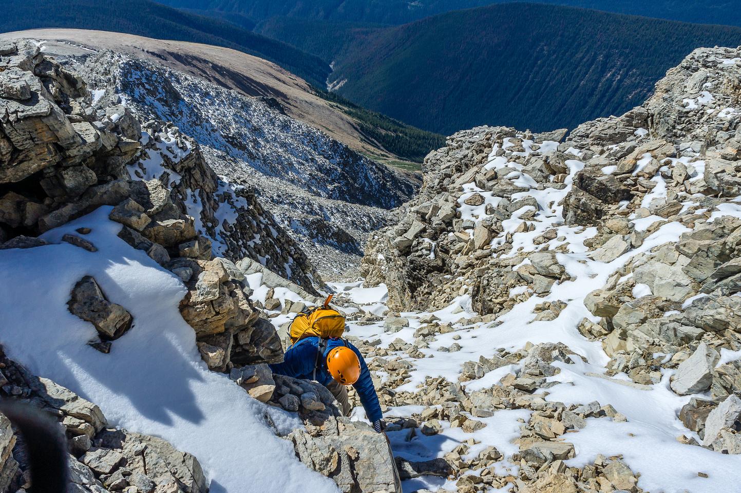 Steep scrambling on loose terrain.