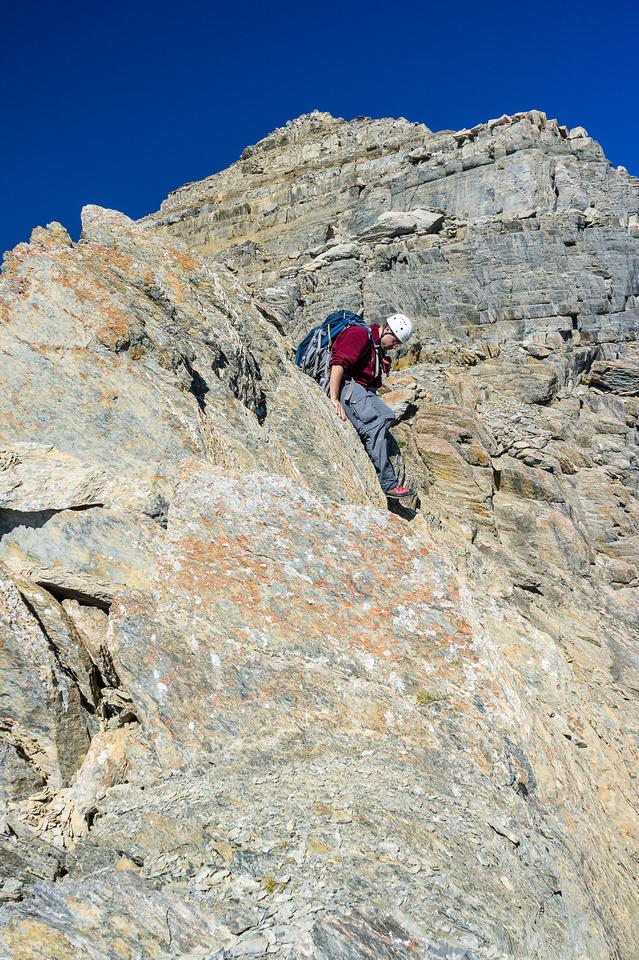 Eric descends the ridge.