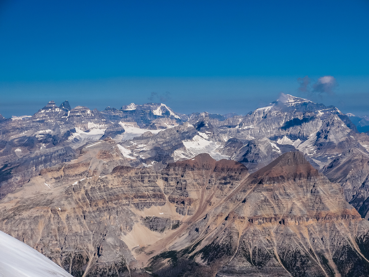Looking over Whymper - it looks tiny, towards Lake Louise peaks including (R to L) Deltaform, Hungabee, Huber, Victoria and Temple