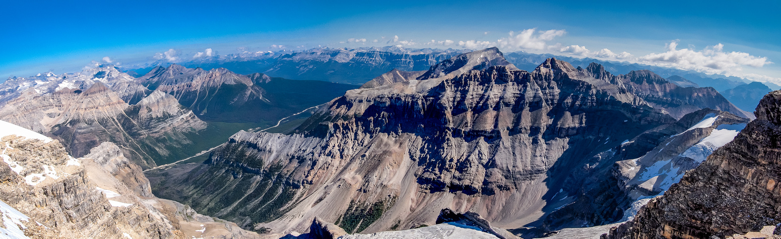 The deep valley between Stanley and Storm contains many popular ice climbs and a nice hiking trail.
