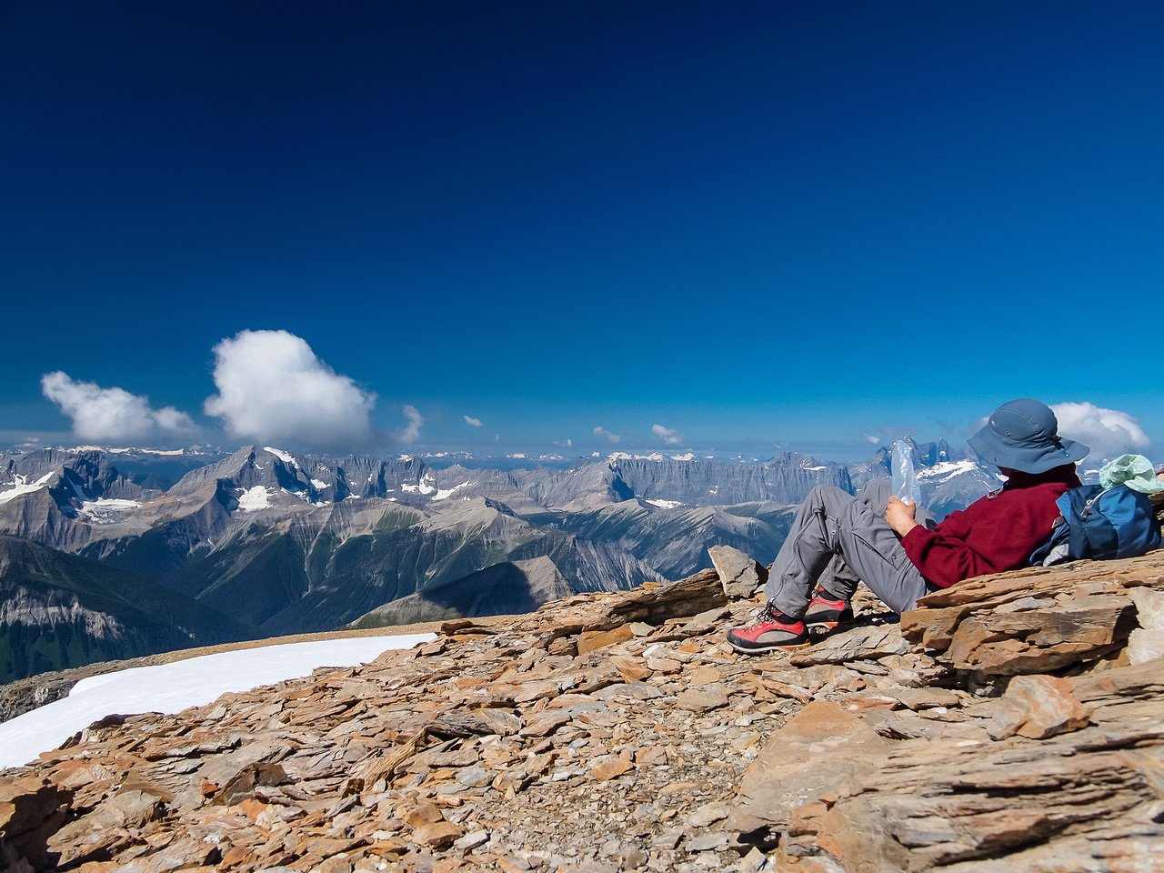 Relaxing at the summit.
