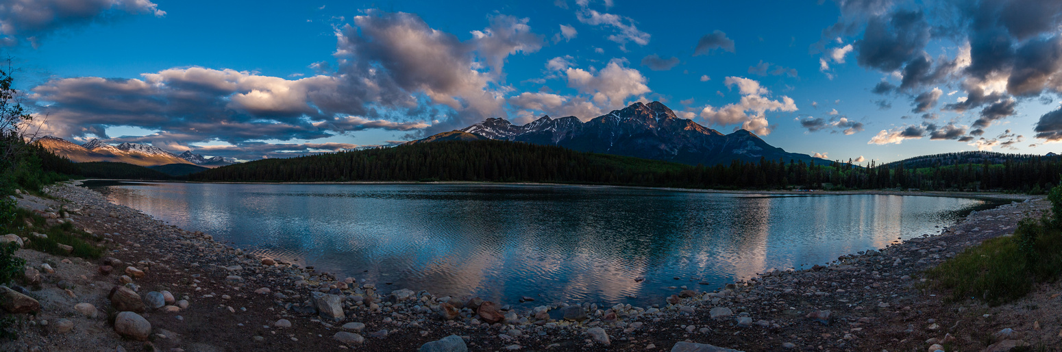 Pyramid Mountain and Patricia Lake from the ride up in the morning.