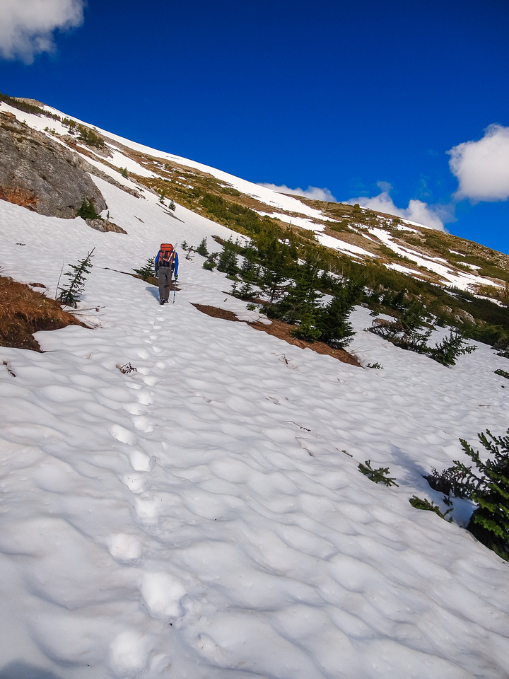 Heading up the east aspect of the north ridge.