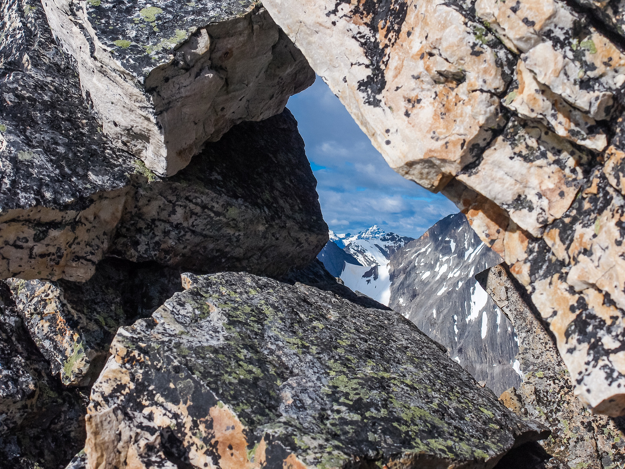 A small window along the summit ridge.