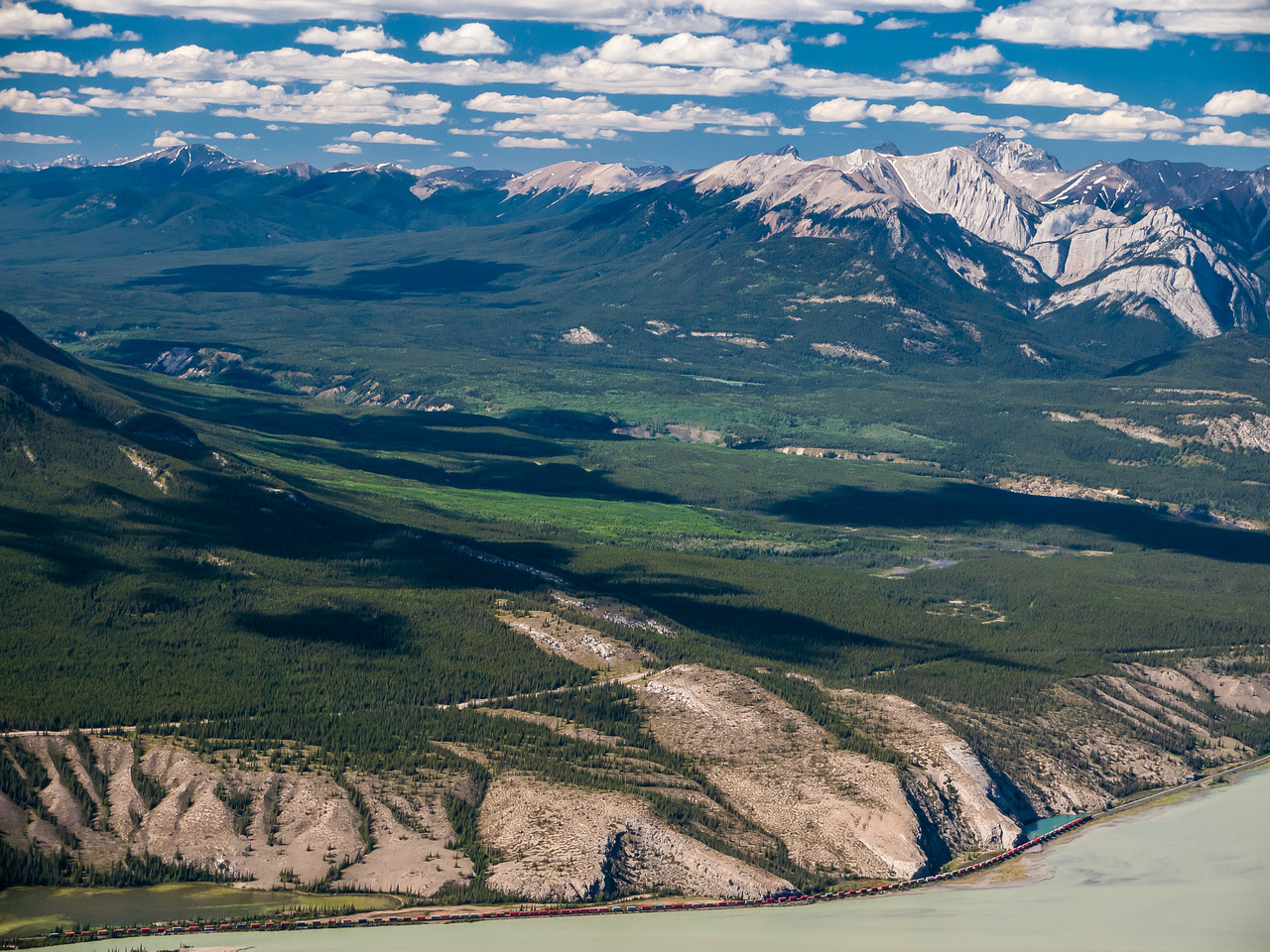 Views towards Roche Ronde and Coronach Mountain over the Beaver Bluffs and Snake Indian River.