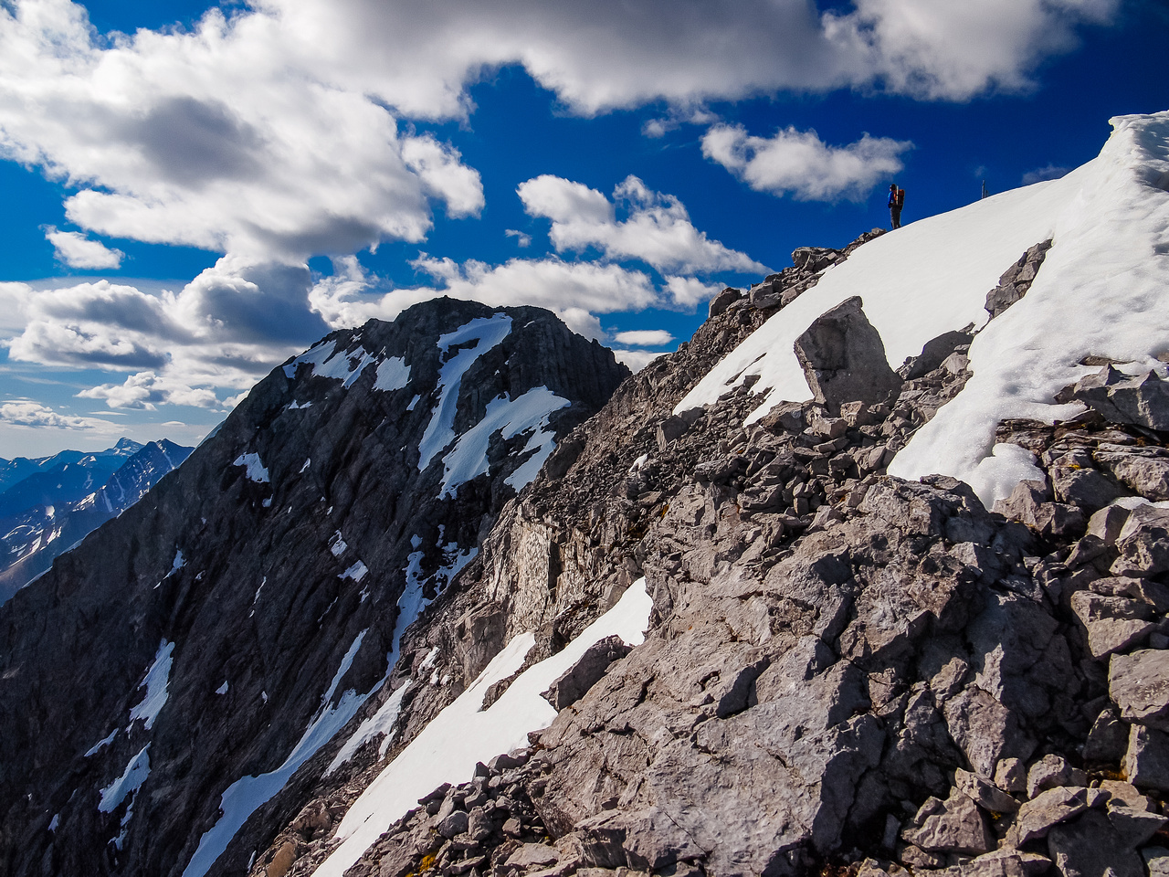 The final section of ridge to the true summit looks harder than it is.