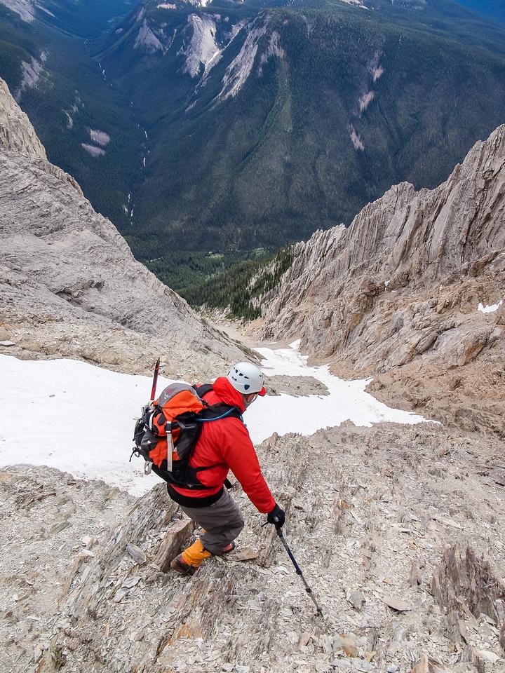 Careful down climbing on the loose terrain.