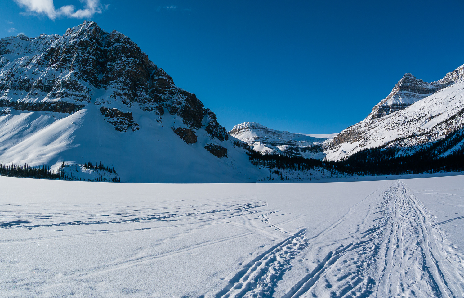 I've spent many winter mornings skiing across Bow Lake and it's usually pretty darn frosty - this day was no exception.