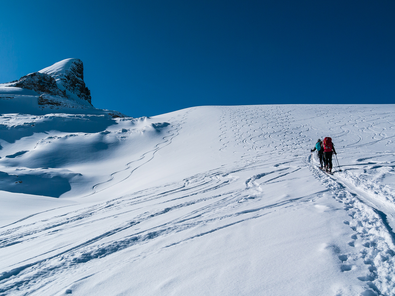 TJ and Ben follow a well-worn skin track up the headwall above the Bow Hut that gives access to the Wapta Icefield.