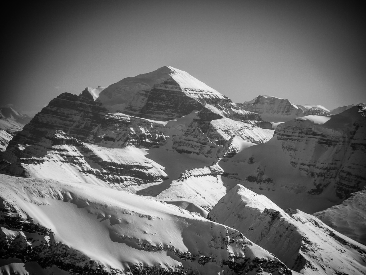 Mount Temple looms over Aberdeen and Haddo Peak.