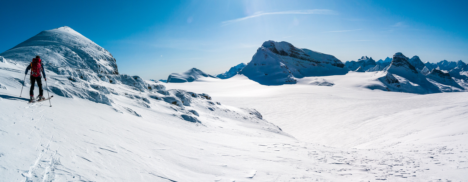 Traversing off the glacier to ascent Lilliput.