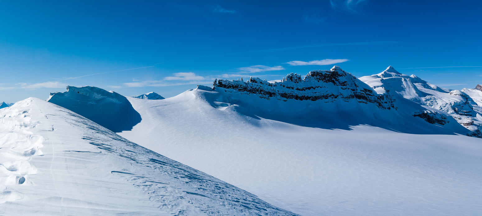 Looking over the top of the Waputik Glacier towards Lilliput and Balfour.