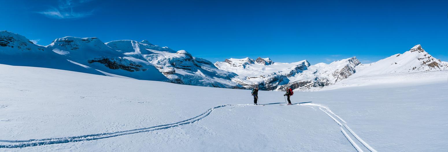 Skiing the Waputik Glacier.