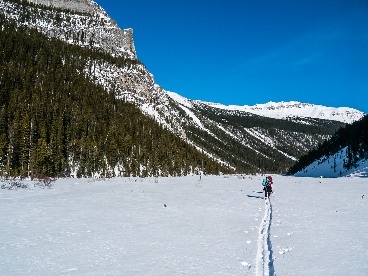 Finally approaching Hector Lake. It's very warm in this valley.
