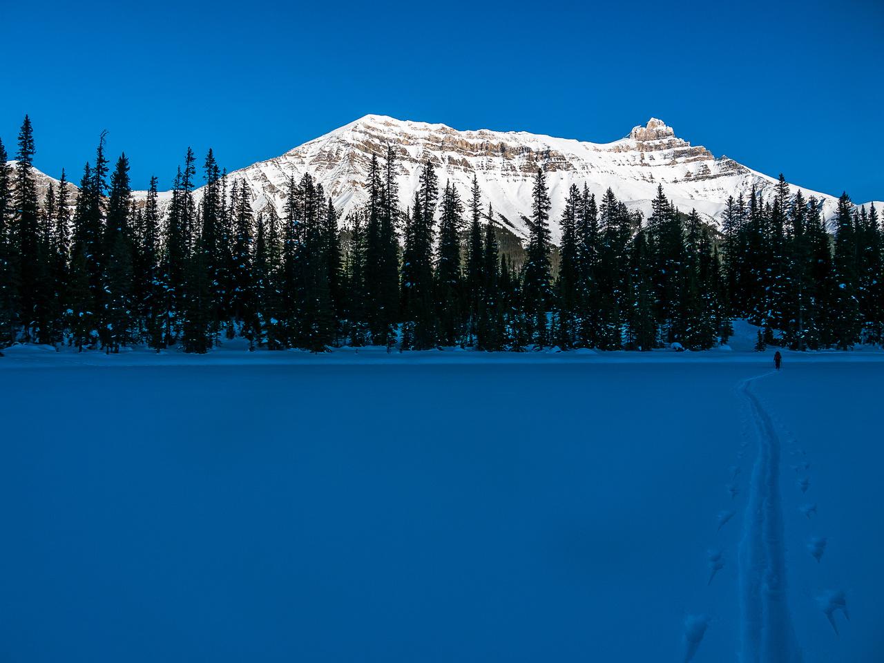 Skiing across Hector Lake.