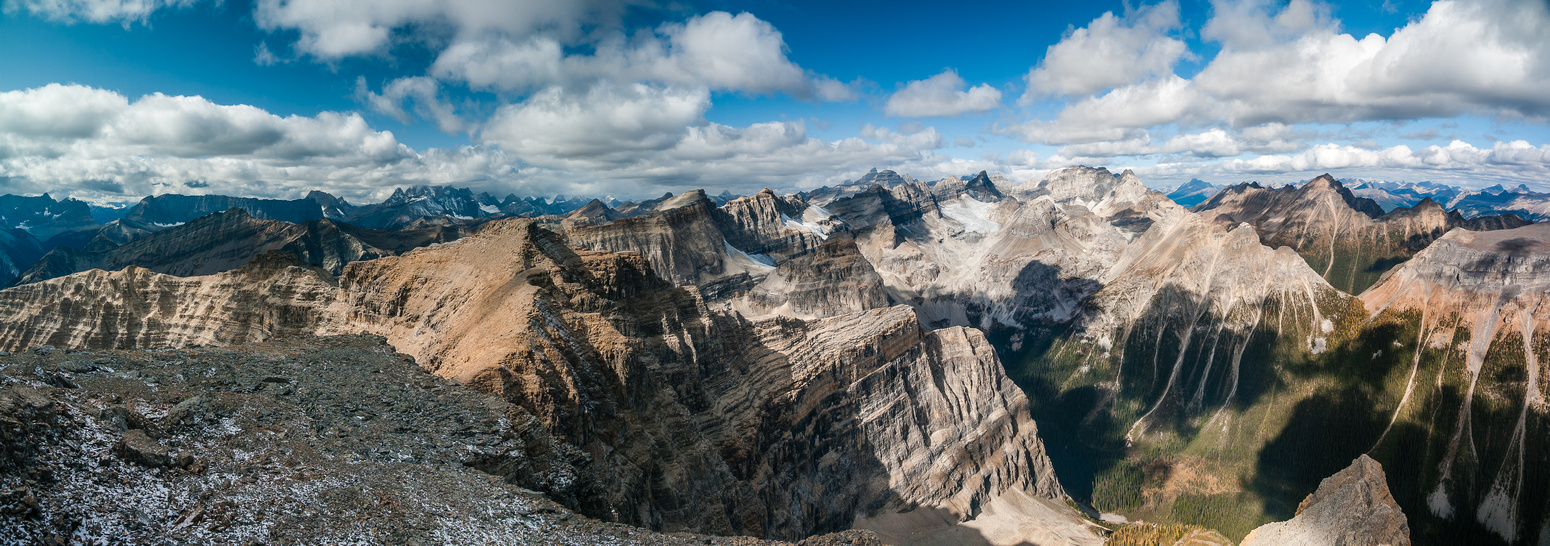 The Rockwall and Goodsirs at left, Valley of Ten Peaks at center and Boom at right.