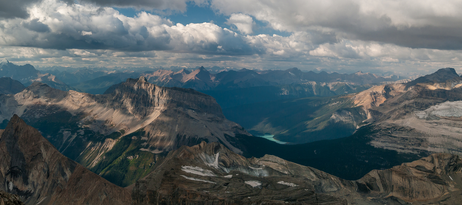 Emerald Lake shows up with Wapta and Field to the left and Carnarvon on the right.